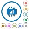 Hardware acceleration icons with shadows and outlines - Hardware acceleration flat color vector icons with shadows in round outlines on white background