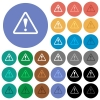 Triangle shaped warning sign round flat multi colored icons - Triangle shaped warning sign multi colored flat icons on round backgrounds. Included white, light and dark icon variations for hover and active status effects, and bonus shades on black backgounds.
