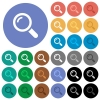 Magnifier round flat multi colored icons - Magnifier multi colored flat icons on round backgrounds. Included white, light and dark icon variations for hover and active status effects, and bonus shades on black backgounds.