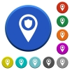 Police station GPS map location beveled buttons - Police station GPS map location round color beveled buttons with smooth surfaces and flat white icons