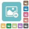 Image histogram white flat icons on color rounded square backgrounds - Image histogram rounded square flat icons