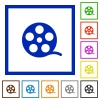 Movie roll flat framed icons - Movie roll flat color icons in square frames on white background