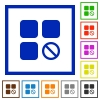 Component disabled flat framed icons - Component disabled flat color icons in square frames on white background
