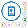 Mobile download icons with shadows and outlines - Mobile download flat color vector icons with shadows in round outlines on white background