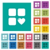 Favorite component square flat multi colored icons - Favorite component multi colored flat icons on plain square backgrounds. Included white and darker icon variations for hover or active effects.