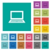 Laptop with blank screen square flat multi colored icons - Laptop with blank screen multi colored flat icons on plain square backgrounds. Included white and darker icon variations for hover or active effects.
