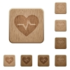 Heartbeat wooden buttons - Heartbeat on rounded square carved wooden button styles