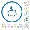 Euro piggy bank icons with shadows and outlines - Euro piggy bank flat color vector icons with shadows in round outlines on white background