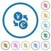 Yen Euro money exchange icons with shadows and outlines - Yen Euro money exchange flat color vector icons with shadows in round outlines on white background