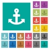Anchor square flat multi colored icons - Anchor multi colored flat icons on plain square backgrounds. Included white and darker icon variations for hover or active effects.