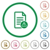 Document error flat icons with outlines - Document error flat color icons in round outlines on white background