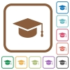 Graduate cap simple icons - Graduate cap simple icons in color rounded square frames on white background