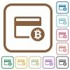 Bitcoin credit card simple icons - Bitcoin credit card simple icons in color rounded square frames on white background
