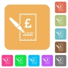 Signing Pound cheque flat icons on rounded square vivid color backgrounds. - Signing Pound cheque rounded square flat icons