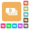 Bitcoin banknotes rounded square flat icons - Bitcoin banknotes flat icons on rounded square vivid color backgrounds.