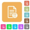 Delete document flat icons on rounded square vivid color backgrounds. - Delete document rounded square flat icons