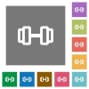 Barbell square flat icons - Barbell flat icons on simple color square backgrounds