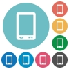 Mobile phone with blank display flat round icons - Mobile phone with blank display flat white icons on round color backgrounds