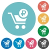 Checkout with Ruble cart flat round icons - Checkout with Ruble cart flat white icons on round color backgrounds