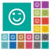 Winking emoticon square flat multi colored icons - Winking emoticon multi colored flat icons on plain square backgrounds. Included white and darker icon variations for hover or active effects.