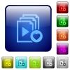 Favorite playlist color square buttons - Favorite playlist icons in rounded square color glossy button set