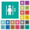 Elevator square flat multi colored icons - Elevator multi colored flat icons on plain square backgrounds. Included white and darker icon variations for hover or active effects.