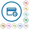 Safe credit card transaction flat color vector icons with shadows in round outlines on white background - Safe credit card transaction icons with shadows and outlines