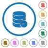 Database processing icons with shadows and outlines - Database processing flat color vector icons with shadows in round outlines on white background