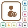 Copy user account data simple icons - Copy user account data simple icons in color rounded square frames on white background