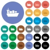 Sea transport round flat multi colored icons - Sea transport multi colored flat icons on round backgrounds. Included white, light and dark icon variations for hover and active status effects, and bonus shades on black backgounds.