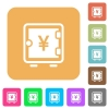 Yen strong box rounded square flat icons - Yen strong box flat icons on rounded square vivid color backgrounds.