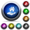 Home insurance round glossy buttons - Home insurance icons in round glossy buttons with steel frames