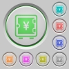 Yen strong box push buttons - Yen strong box color icons on sunk push buttons
