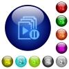 Pause playlist color glass buttons - Pause playlist icons on round color glass buttons