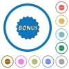 Bonus sticker icons with shadows and outlines - Bonus sticker flat color vector icons with shadows in round outlines on white background