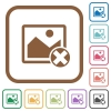 Cancel image operations simple icons - Cancel image operations simple icons in color rounded square frames on white background