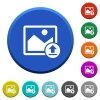 Upload image beveled buttons - Upload image round color beveled buttons with smooth surfaces and flat white icons
