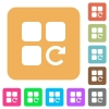 Redo component operation rounded square flat icons - Redo component operation flat icons on rounded square vivid color backgrounds.