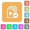Playlist fast backward rounded square flat icons - Playlist fast backward flat icons on rounded square vivid color backgrounds.