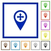 Move GPS map location flat framed icons - Move GPS map location flat color icons in square frames on white background