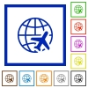 World travel flat color icons in square frames on white background - World travel flat framed icons