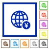Online Yen payment flat color icons in square frames on white background - Online Yen payment flat framed icons
