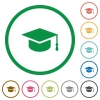 Graduate cap flat color icons in round outlines on white background - Graduate cap flat icons with outlines