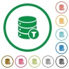 Database filter flat icons with outlines - Database filter flat color icons in round outlines on white background