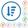 Descending ordered list mode icons with shadows and outlines - Descending ordered list mode flat color vector icons with shadows in round outlines on white background