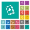 Card game multi colored flat icons on plain square backgrounds. Included white and darker icon variations for hover or active effects. - Card game square flat multi colored icons