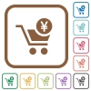 Checkout with Yen cart simple icons in color rounded square frames on white background - Checkout with Yen cart simple icons