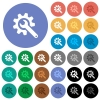 Wrench with cogwheel round flat multi colored icons - Wrench with cogwheel multi colored flat icons on round backgrounds. Included white, light and dark icon variations for hover and active status effects, and bonus shades on black backgounds.