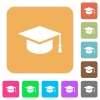 Graduate cap rounded square flat icons - Graduate cap flat icons on rounded square vivid color backgrounds.
