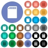 SD memory card round flat multi colored icons - SD memory card multi colored flat icons on round backgrounds. Included white, light and dark icon variations for hover and active status effects, and bonus shades on black backgounds.